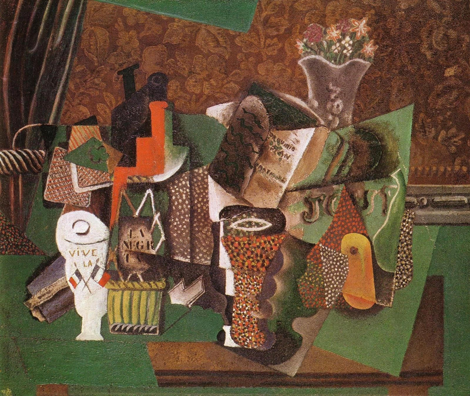 Still-Life-with-Cards-Glasses-and-a-Bottle-of-Rum-Vive-la-France-[1914]